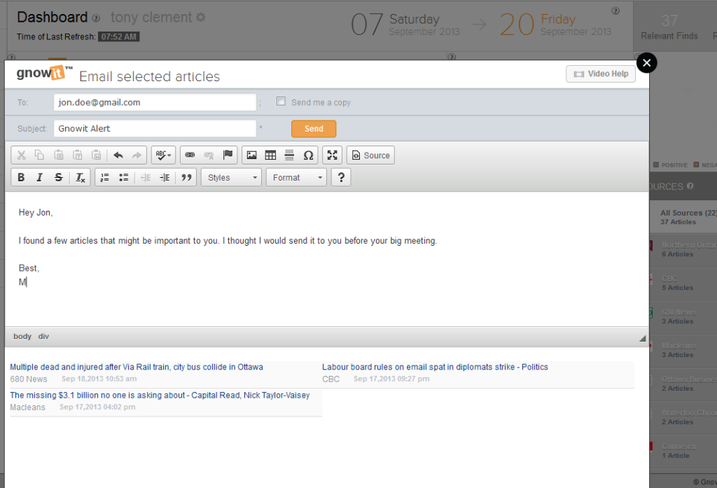 Sending articles is easy using Gnowit's emailing system.